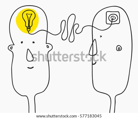 creation ideas concept. brainstorming.primitive infantile cartoon style. Vector illustration isolated on white background