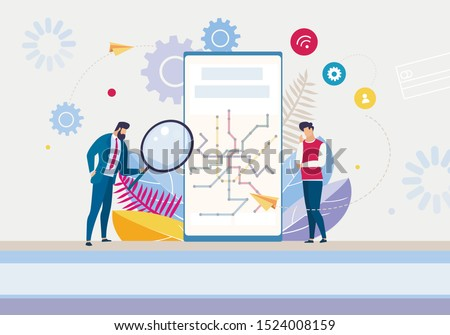 Creation New Mobile App Workflow Process. Cartoon Boss Chief Leader with Magnifying Glass Checking Finished Digital Product on Phone Screen. Executive Manager Wait for Conclusion. Vector Illustration