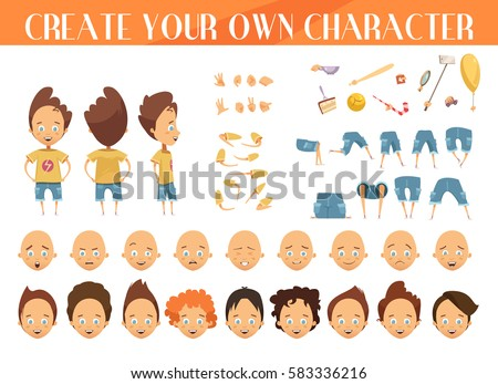 Creation of cartoon character boy set with haircuts emotions legs positions and sports gear isolated vector illustration