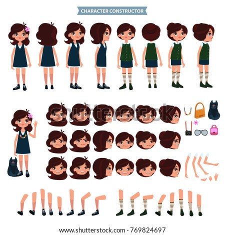 Creation of cartoon character girl set with haircuts emotions legs positions and аccessories isolated vector illustration.Moving arms, legs.