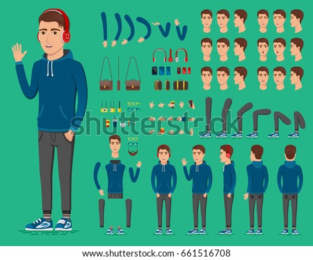 Creation set of handsome young man character in sportswear for create animation. Separate parts of sportsman. Various types of faces and emotions. Front, side, back view of guy. Vector illustration.