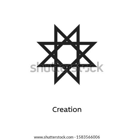Creation vector illustration element icon, line symbols. Alchemy icon. Basic mystic elements.