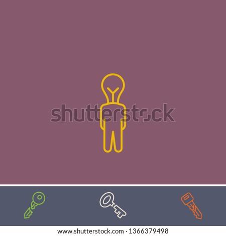 creativ human vector line icon.Basic element illustration.creativ human vector outline symbol design.Bonus broken key graphic concept