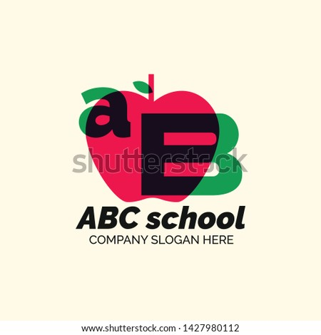 Creative ABC School Design Logo With Apple Shadow Gradation