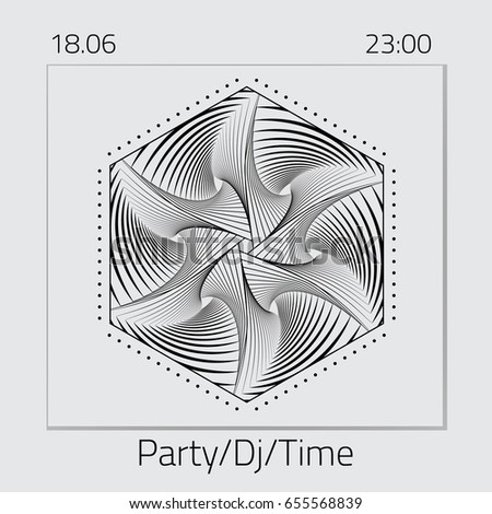 Creative abstract flyer, logo, emblem for a party. Template for DJ Poster, Web Banner, Pop-Up. Electro event design