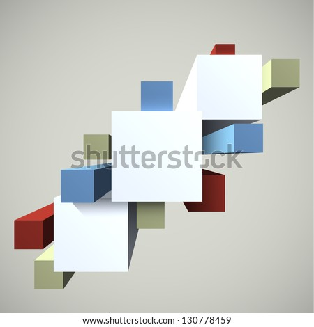 Creative abstract geometric 3D shapes background. EPS10 vector.