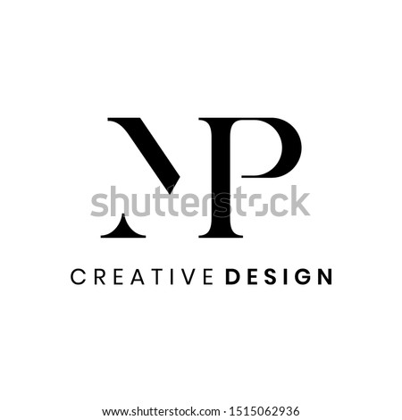 creative abstract letter mp