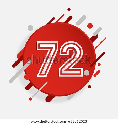 creative abstract number 72 indonesia independence day