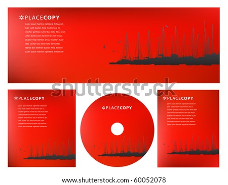 Creative abstract red background with sailboats at a marina with plenty of copy area