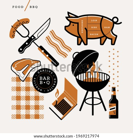 Creative abstract vector art  illustration of food BBQ. Geometric shapes modern concept. Pork picnic grill steak ham loin meat matches knife fork sausage light flame beer bacon cook line art ribs icon Stock photo ©