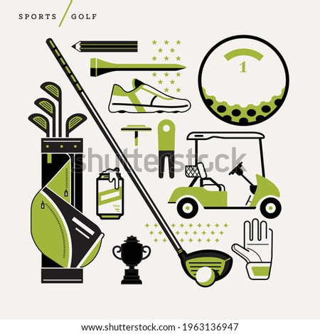 Creative abstract vector art illustration of golf. Geometric shapes compiled modern concept. Template sports golf bag club ball cart trophy glove tee pencil golfer cleats marker drink pro Foto stock ©