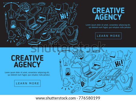 Creative Agency Office Website  Banner Design With  Artistic Hand Drawn Sketchy Line Art Drawings Illustrations  Of Essential Related Objects Of Every Day Working Things And Tools. Vector Graphic.