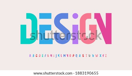 Creative alphabet, rainbow colors, modern geometric font. Bright colorful type for futuristic or kid logo, headline, lettering and typography. Trendy style letters, vector typographic design.