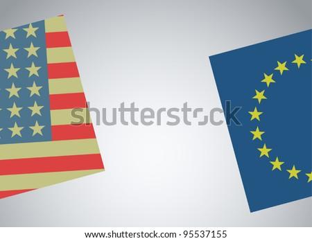 Creative american and european flags