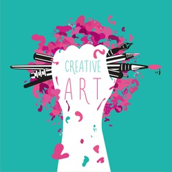 Creative and art. Hand is holding arts tools. Motivation poster