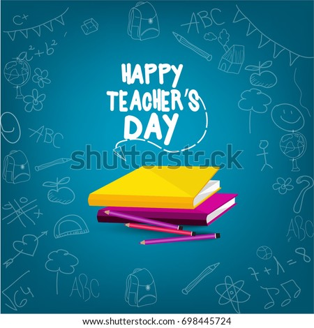 Creative and beautiful abstract for Happy Teachers Day with nice illustration in background.