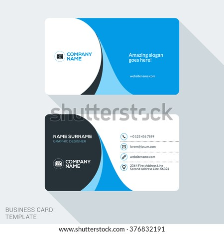 Creative And Clean Corporate Business Card Template Flat