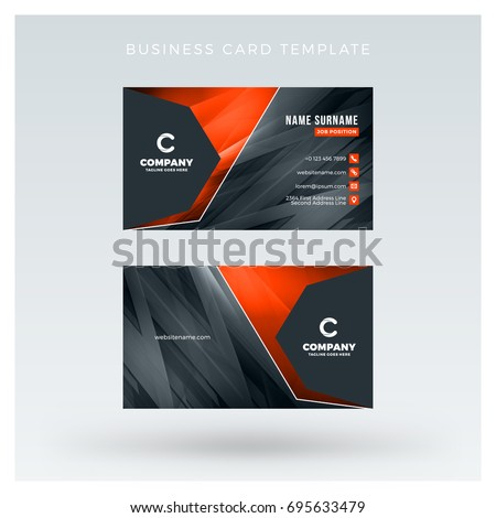 Creative and clean double-sided business card vector template with abstract background. Red and black color theme. Flat design vector mockup. Stationery design