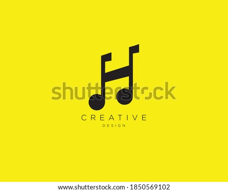 Creative and Minimalist H Music Logo Design , Letter H with Music Note Logo  Stock fotó ©