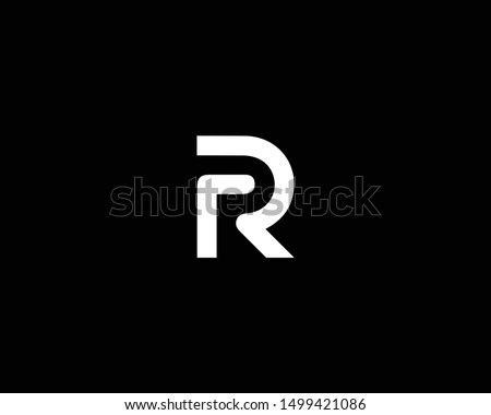 Creative and Minimalist Letter RR R Logo Design Icon  Editable in Vector Format in Black and White Color Stock fotó ©