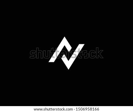 Creative and Minimalist Logo Design of Letter N AV VA LL, Editable in Vector Format in Black and White Color Stock fotó ©