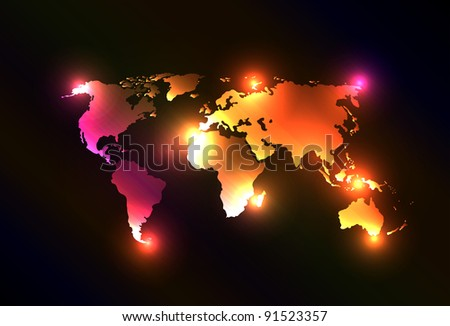 Creative and original vector with light map of the world. Perfect for your webdesign or website. Asia, Australia, America, Europe.