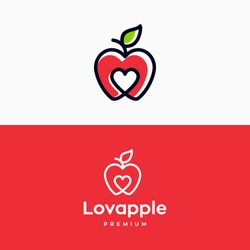 Creative apple logo with love Heart Inside and leaf icon Design Symbol Illustration in trendy colorful linear line style