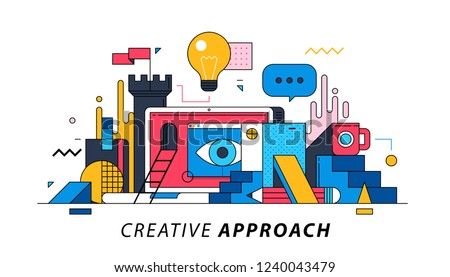 Creative Approach. Illustration in memphis style. Motivation, inspiration, new ideas.