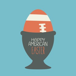 creative art american football game logo vector isolated for nfl postcard flat design in egg cup cartoon. happy american easter print graphic for concept sport. ball in basket egg for holiday spring.