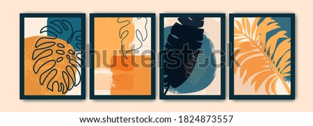 Creative art composition with natural simple hand painted shapes and exotic leaves, monstera. Modern abstract wall art, decoration, cover, brochure design.