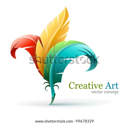 creative art concept with color red yellow and blue feathers. Vector illustration isolated on white background EPS10. Transparent objects used for shadows and lights drawing.