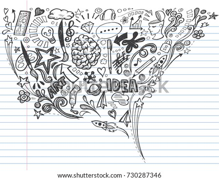 Creative art doodles hand drawn on lined notebook paper Design illustration.