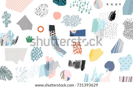 Creative art header with different shapes and textures. Collage. Vector