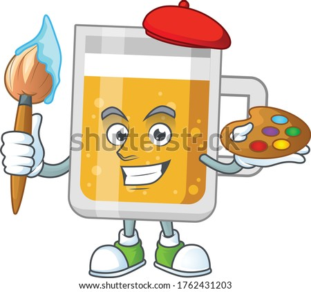 creative Artist of glass of beer cartoon character painting using a brush