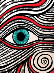 Creative artistic abstract drawing of a magical mystical blue eye. Artwork painting doodle with lines, swirls, stripes and curves. Hand drawn colored poster print pattern, vector illustration.