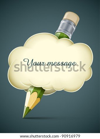 creative artistic concept pencil in cloud vector illustration