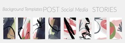 Creative backgrounds for social media. Editable story templates. Pastel colored with hand drawn scribbles promotional backgrounds for social media apps.