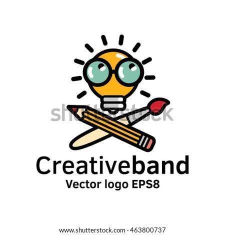 Creative band color logo icon art symbol bulb. Color vector illustration. EPS8