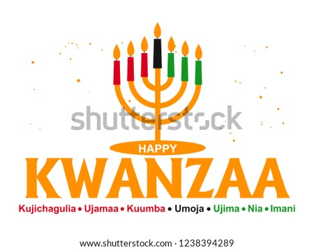 Creative Banner for Kwanzaa with traditional colored candles representing the Seven Principles (or Nguzo Saba) over a ancient scroll.