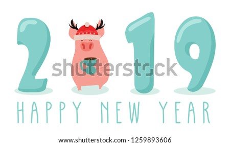 Creative banner for New 2019 Year with cute pig. Concept, vector vertical template. Symbol of the year in the Chinese calendar. Cartoon. Isolated. Vector illustration. Vector illustration