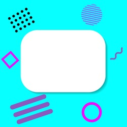 Creative banner in memphis style. Bright awesome background with geometric figures and copyspace. Colorful design in retro 1980s. For social media post