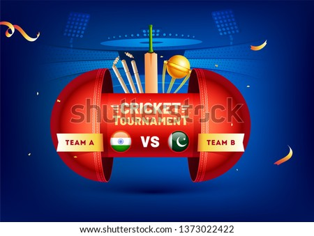 Creative banner or poster design with cricket elements and participants team flag India and Pakistan on stadium view background for Cricket Tournament concept.