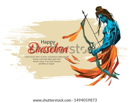 Creative banner poster for Lord Rama killing Ravana during Dussehra festival of India with message in Hindi meaning wishes for Dussehra