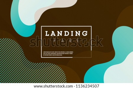 Creative banner with fluid elements and shapes. Chocolate brown and bright neon aqua blue color. ideal for landing page, poster, promotion, ad, greeting, social media, cover.