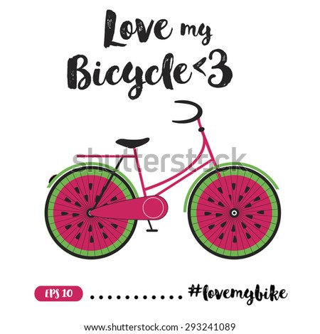 Creative Bicycle Illustration With Quote.