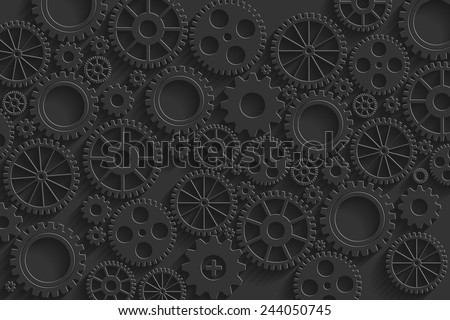 Creative black gears background. Eps10 vector for your design.
