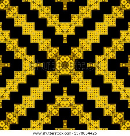 creative black yellow Art Deco pattern in ethnic style Aztec style hipster style