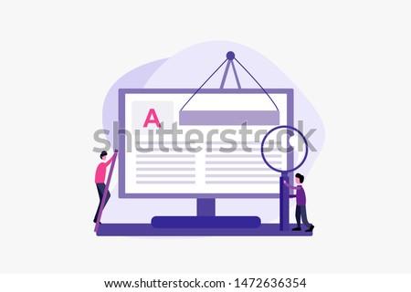 Creative Blogging illustration concept. Copywriting. article editor vector illustration concept for web landing page template, banner, flyer and presentation