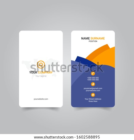 Creative  Blue and Yellow Color Corporate vertical business card templat Template For Commercial Use. eps 10