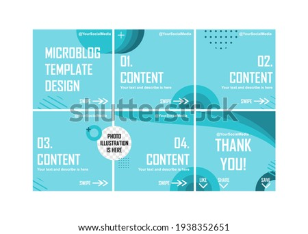 Creative blue microblog template design. Easy to edit with vector file. Can use for your creative content. Especially for social media post. ストックフォト ©